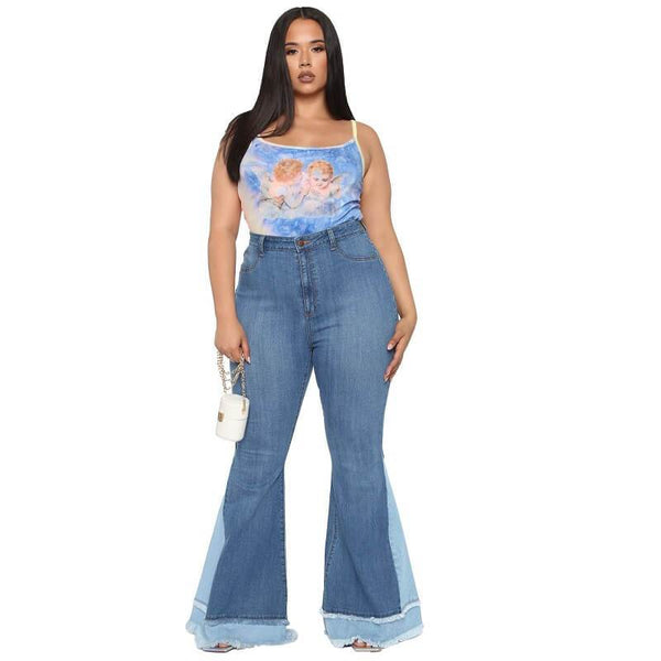 Plus Size Large Size Color Matching Bell Pants