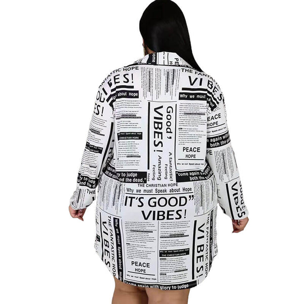 Large Size Dress Turn-down Collar Streetwear