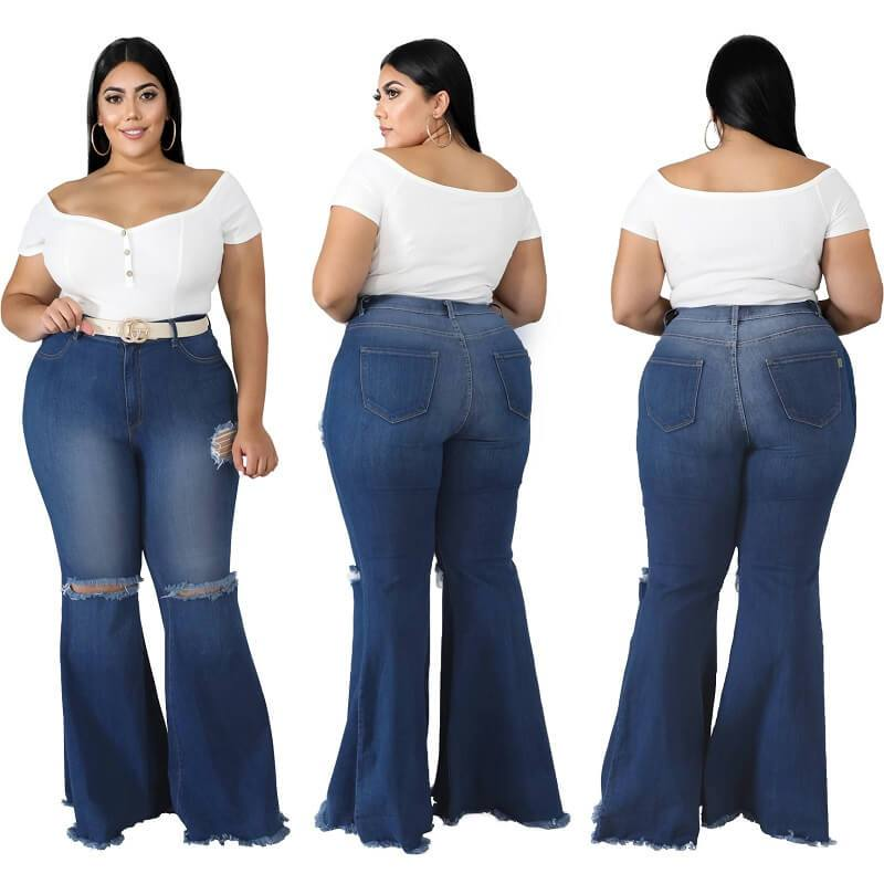 Plus Size Large Size Jeans with Holes