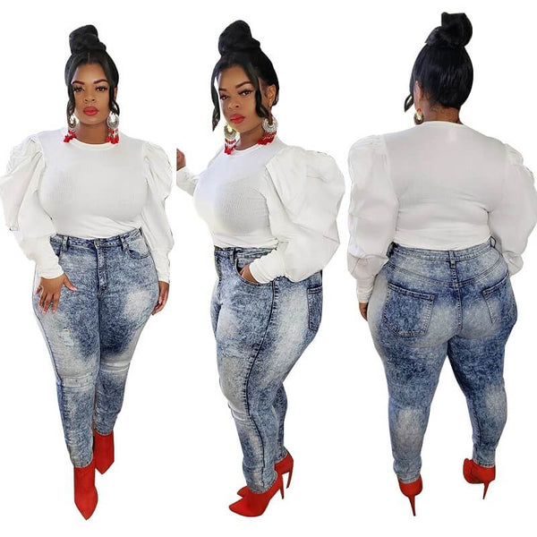 Plus Size White Long Sleeve Shirt - white colors