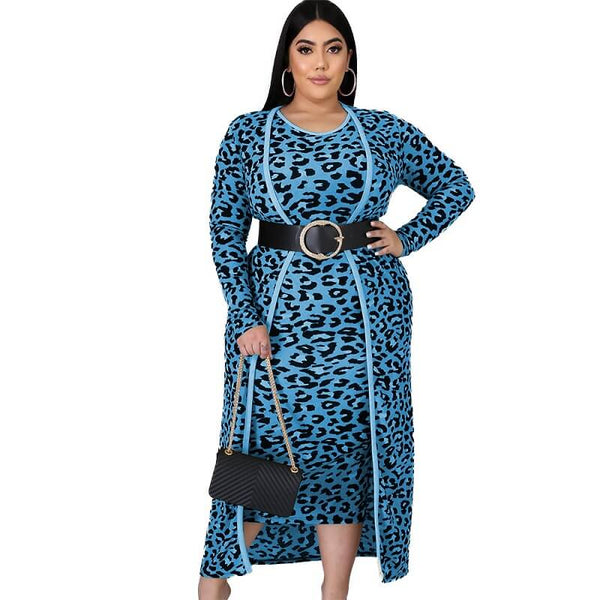 plus size two piece dress set - blue color