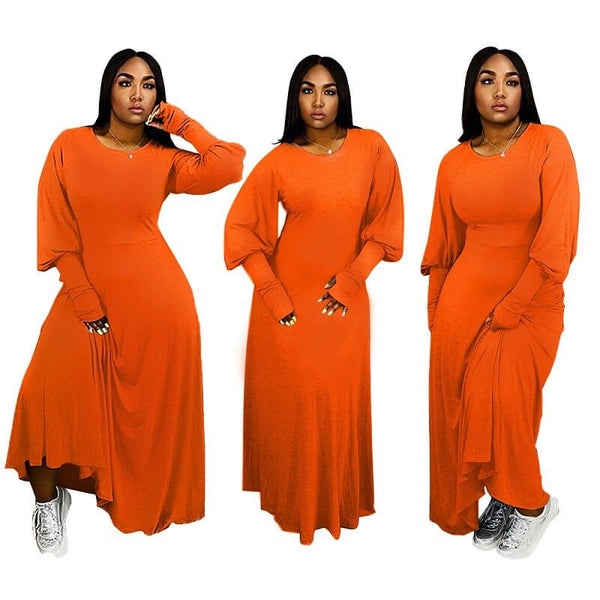 Plus Size Peplum Dress - orange color
