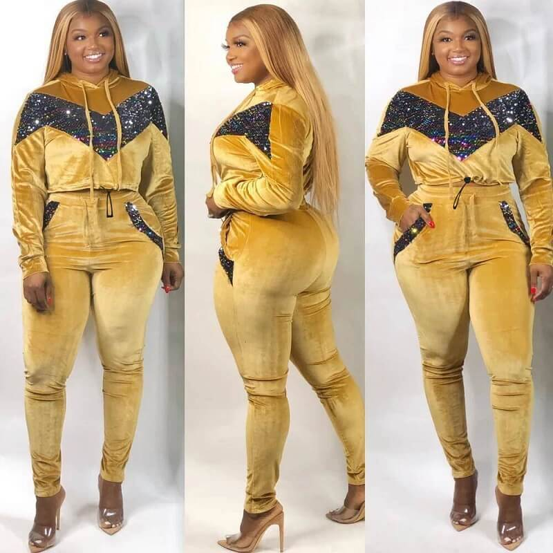 Plus Size Large Size Sports Suit - yellow color