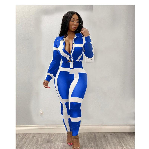 Plus Size Striped Suit - blue color