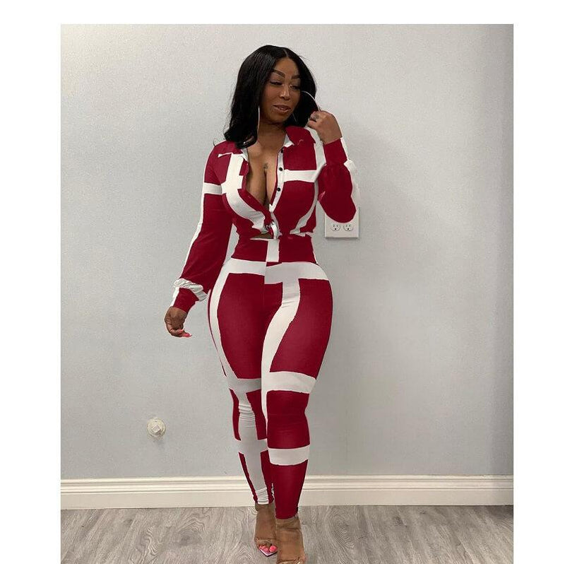 Plus Size Striped Suit - red color