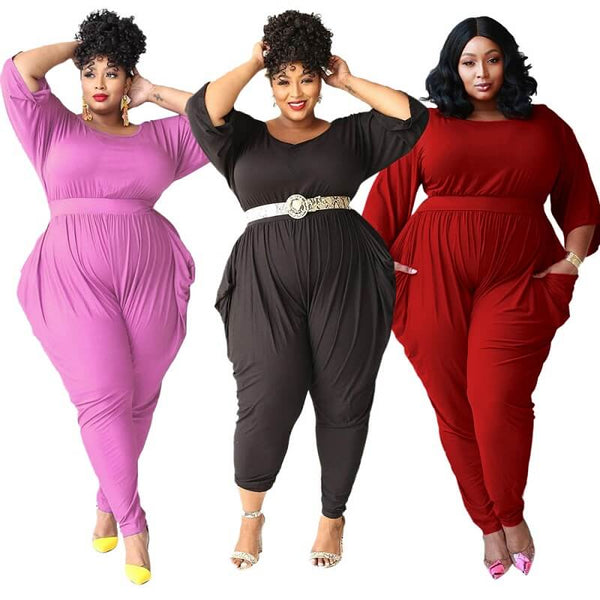 Plus Size Large Solid Color Pants