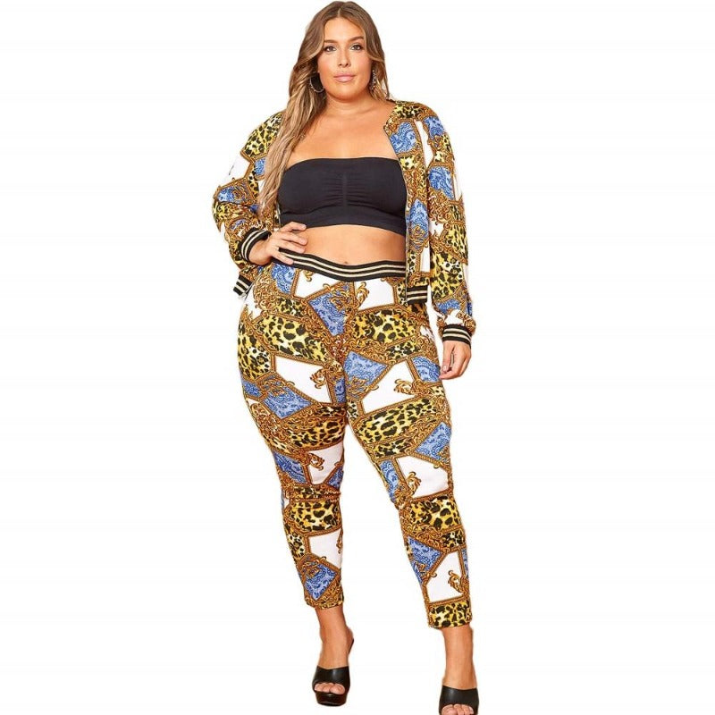 Plus Size Large New Casual Print Set