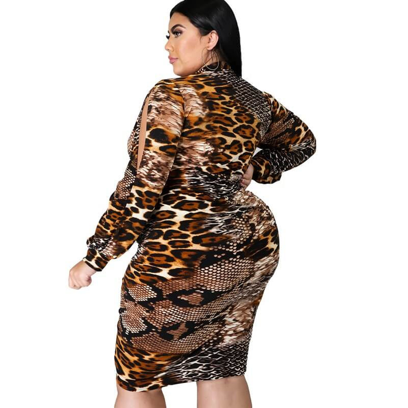 Plus Size Large Women's V-neck Snakeskin Dress