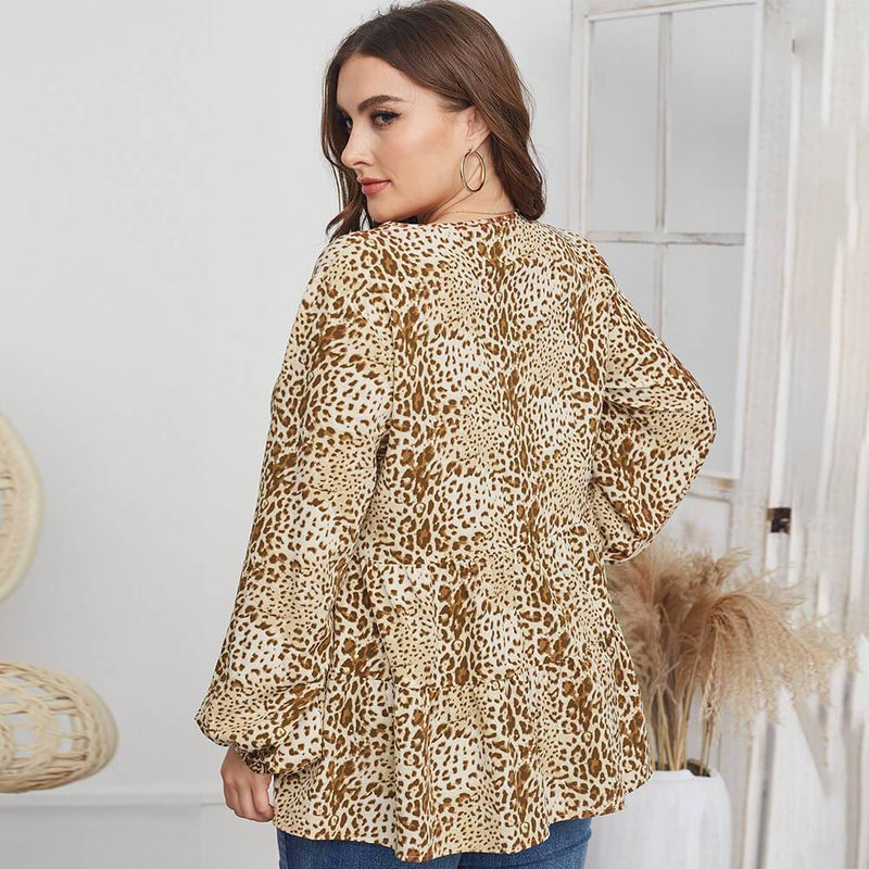 Leopard Blouse Plus Size -  apricot back