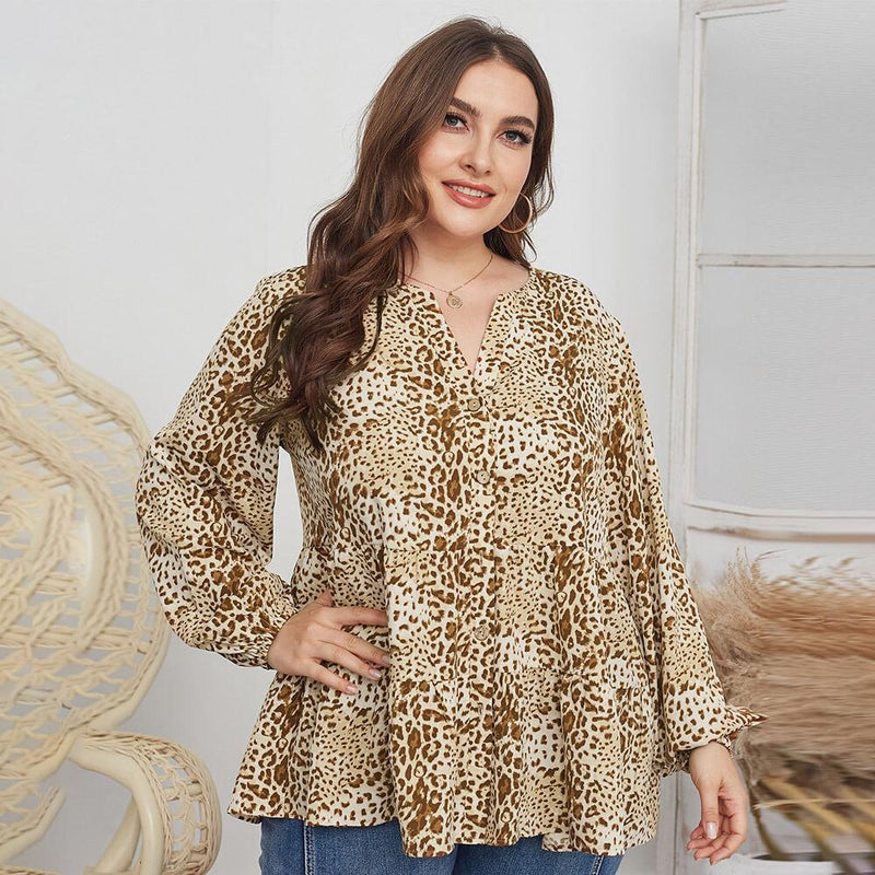 Leopard Blouse Plus Size -  apricot color