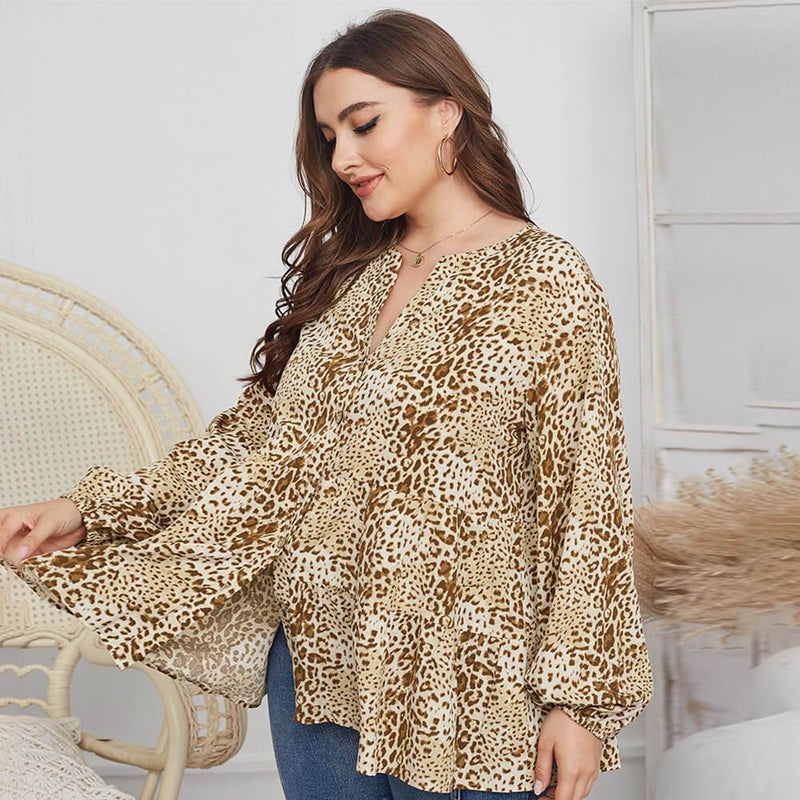 Leopard Blouse Plus Size -  apricot left