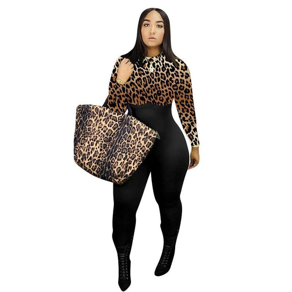 Plus Size Leopard Casual Jumpsuit