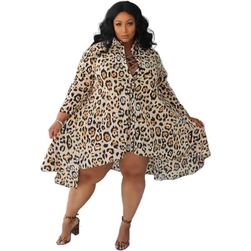 Plus Size Short Wedding Dresses - leopard print positive