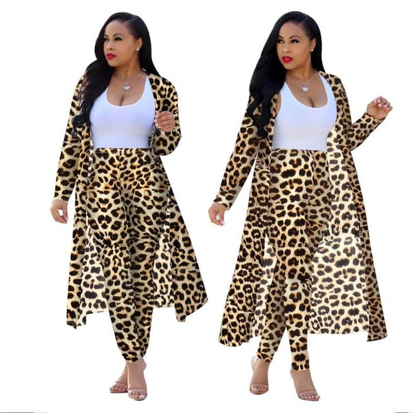 Plus Size Leopard Print Long Two Piece Set
