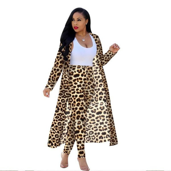 Plus Size Leopard Print Long Set - leopard print color