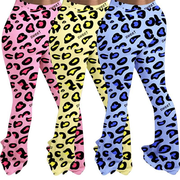 Plus Size  Leopard Print Casual Tight-fitting Trousers