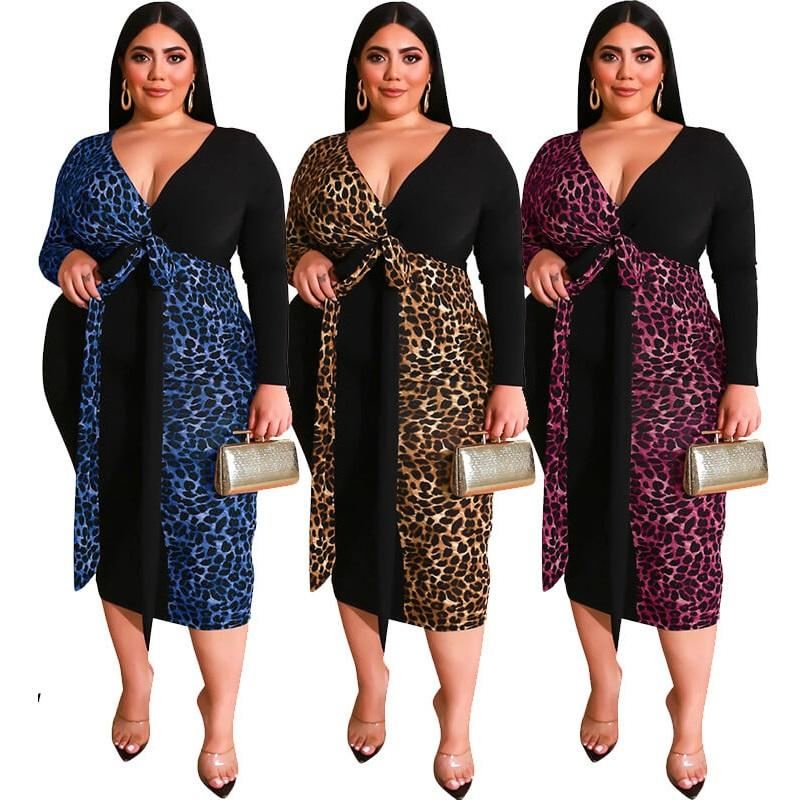 Leopard Print Matching Deep V Plus Size Dress