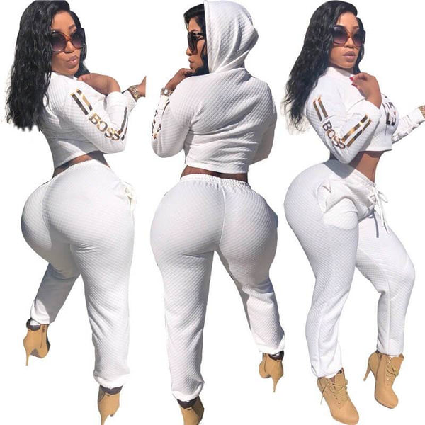 Letter Gilt Long Sleeve Hoodie Suit