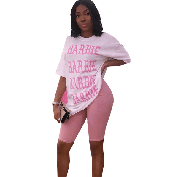 Plus Size Letter Casual 2 Pieces - pink color