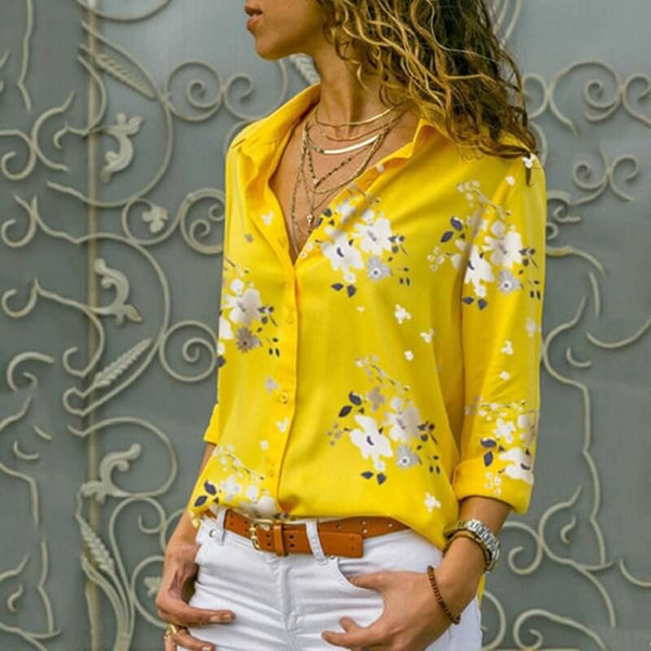 Light Blue Blouse Plus Size - yellow  color