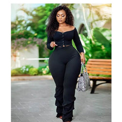 Plus Size Long-sleeved Solid Color Suit.