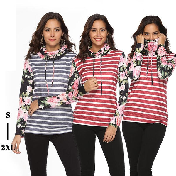 Long-sleeved Stylish Print Knitted T-shirt.