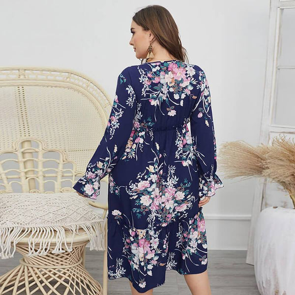 Plus Size Kimono Dress - navy blue back
