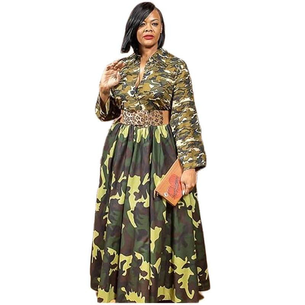 Plus Size Long Sleeve Printed Camouflage Dress