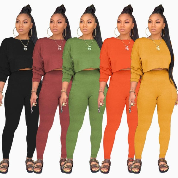 Long Sleeve Sweatshirts Pencil Pants Suit Two Piece Sets