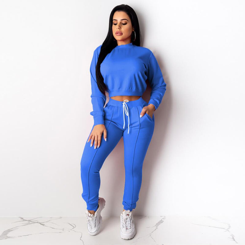 Women's 2 Piece Suit Set - blue color