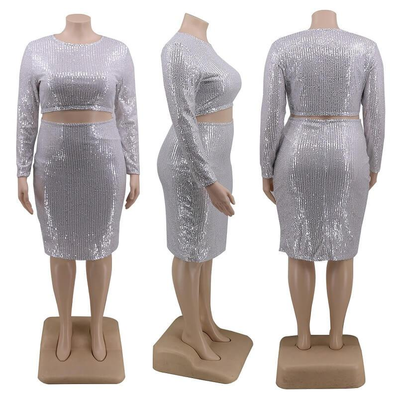 2 Piece Sequin Set Plus Size - white model picture