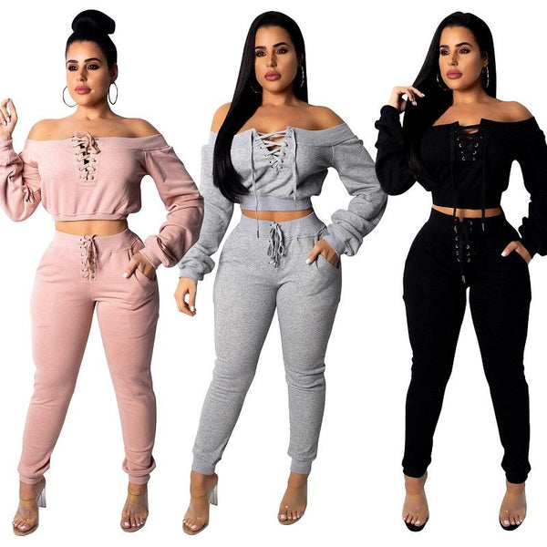 Long Sleeve knitted Suit with Pant 2 Piece Pink Sets
