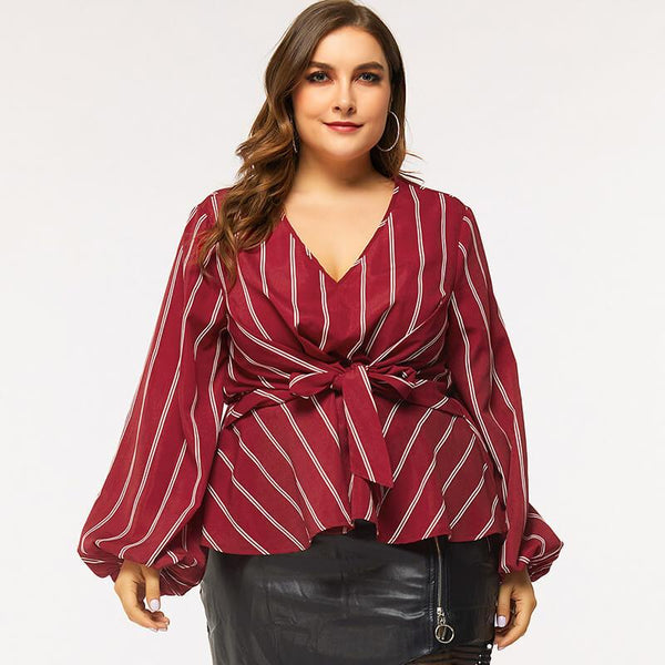 Long Sleeves Red Shirt Plus Size