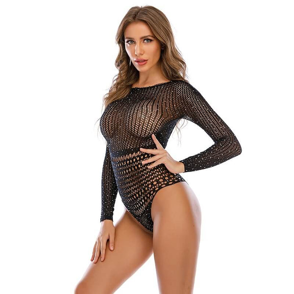 Long Sleeve Mesh Lingerie - Model Left View