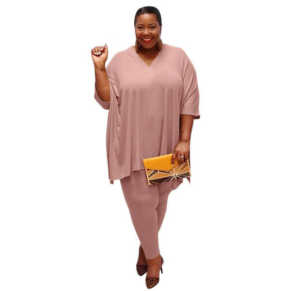 Plus Size Fashion Leisure Two Sets - pink color