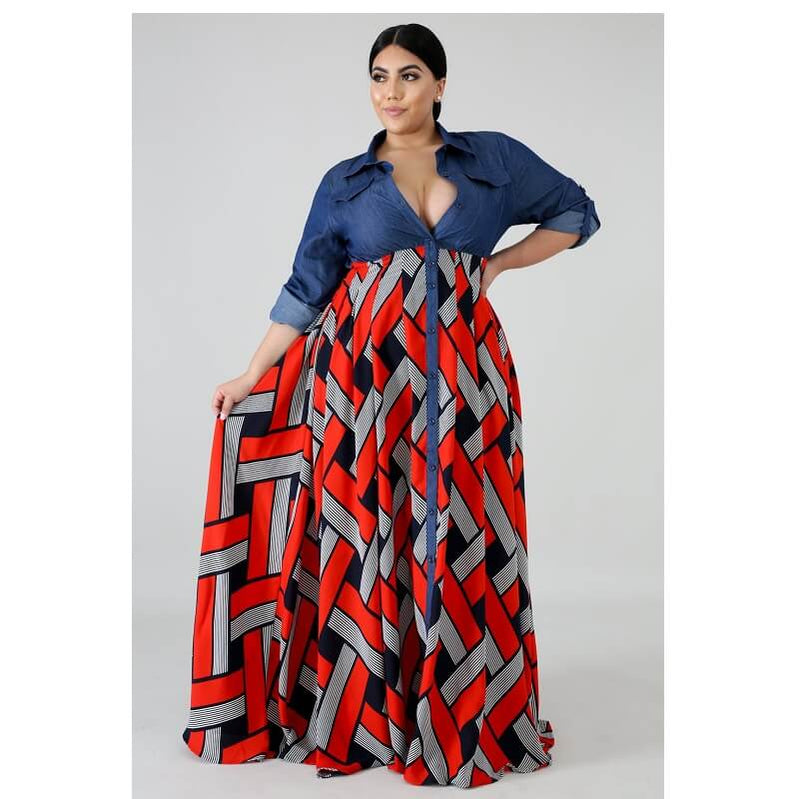 National Style Plus Size Long Formal Dresses