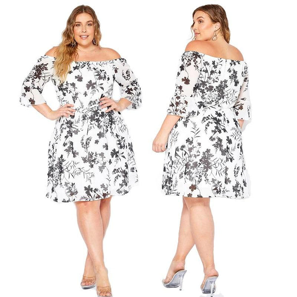 Plus Size Retro Dresses - white main picture