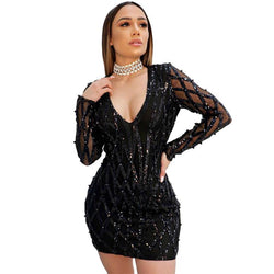 New Deep V Sexy Night Bead Dress