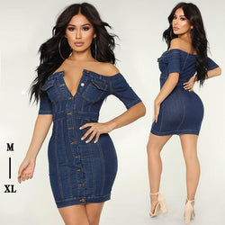 Fashion Off Shoulder Denim Dress