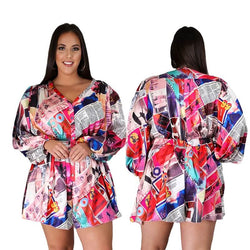 Plus Size  Oversized Fashion V-neck Print Jumpsuit