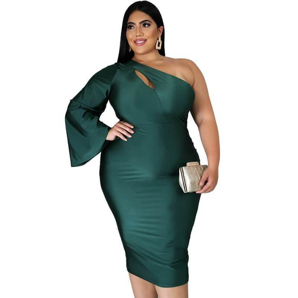 Plus Size Oversized One Shoulder Sleeve Sexy Dress