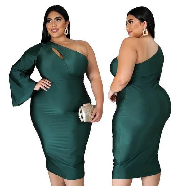 Oversized One Shoulder Sleeve Sexy Dress