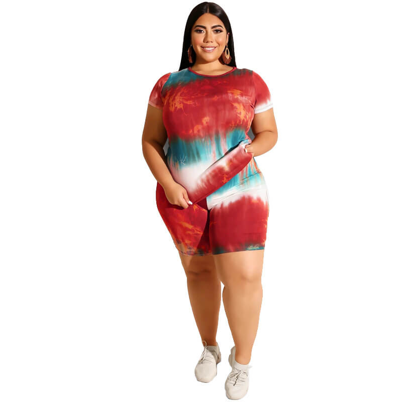 Plus Size Two Piece Outfits O Neck Short Sleeves