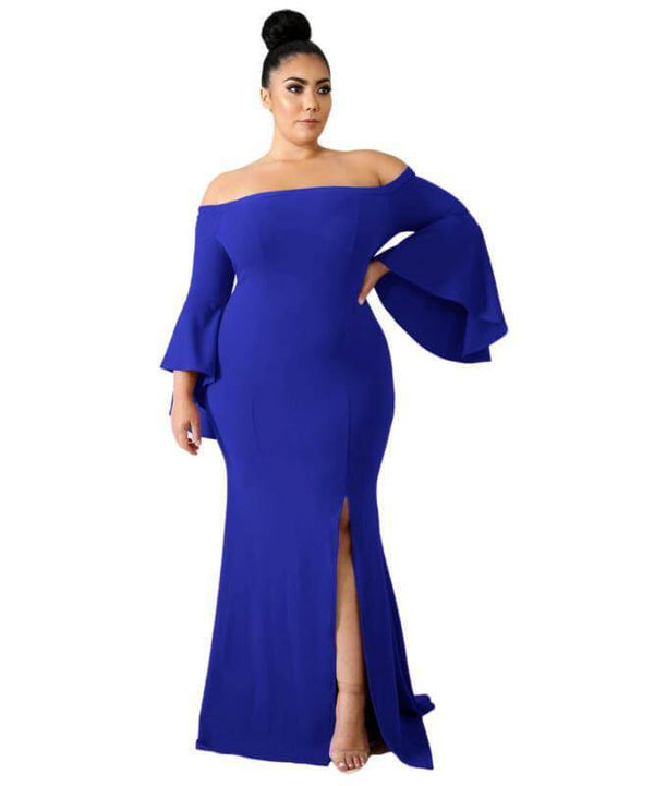 Discount Plus Size Wedding Dresses - blue color