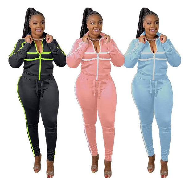 Plus Size Patchwork Sports Suit