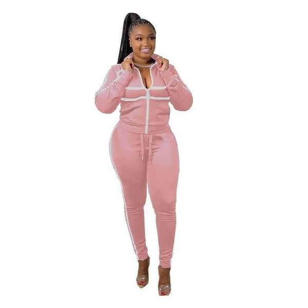 Plus Size Pink 2 Piece Sets - pink color