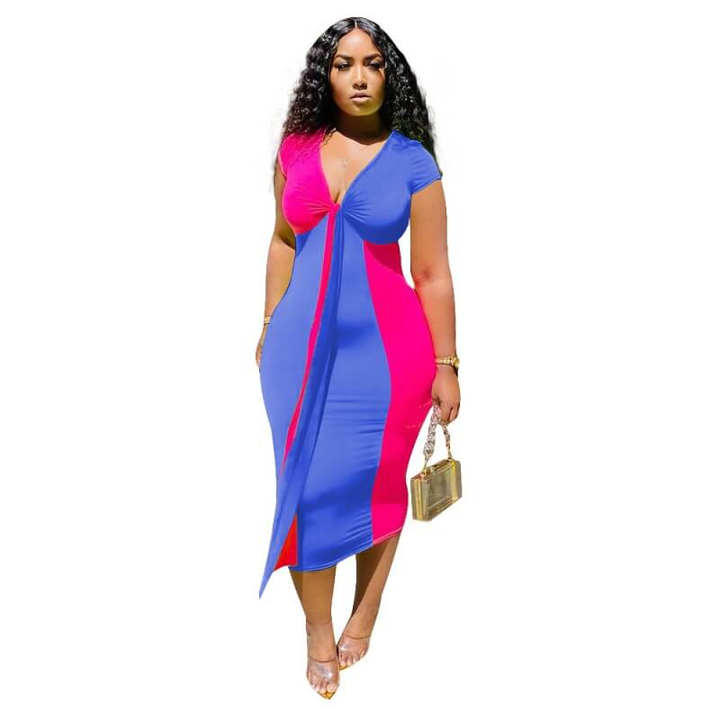 Plus Size Corset Dress - red and blue color