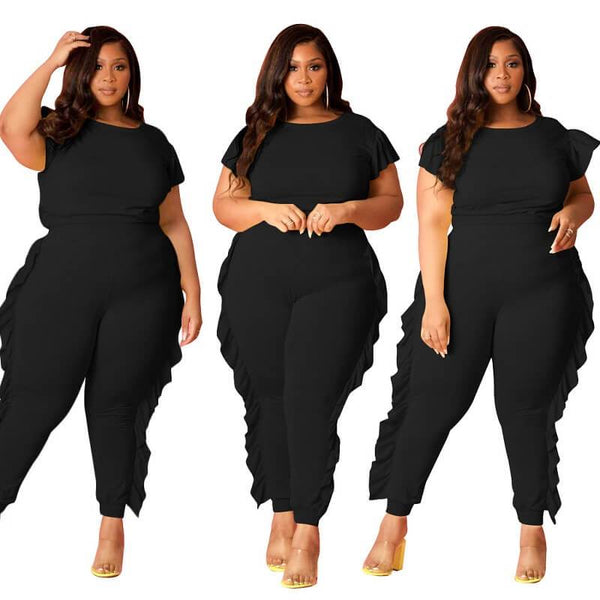 Plus Size Patchwork Wooden Ear Sports Trousers Set