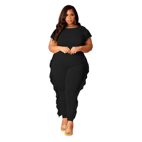 Black Two Piece Set Plus Size - black color