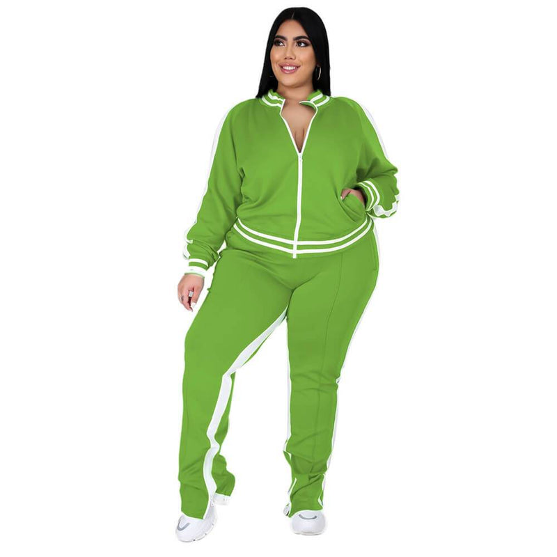 plus size two piece sweatsuit - light green color